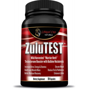 ZuluTEST, Testosterone Booster, Lean Muscle Supplements for Men and Women, Helps Increase Energy, Libido and Stamina, Contains Natural Bulbine Natalensis - African Wild Naturals (84 Capsules)