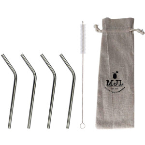 Short Thin Bent Stainless Steel Straws for Cocktail Glasses, Kids, Small Cups, or Half Pint Mason Jars, 4 Pack + Cleaning Brush