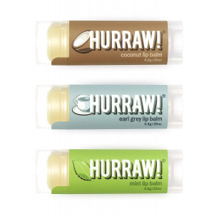 HURRAW! Coconut, Earl Grey, Mint Lip Balms Bundle: Organic, Certified Vegan, Certified Cruelty Free, Non-GMO, Gluten Free, All Natural Luxury Lip Balm Made in USA  COCONUT, EARL GREY, MINT (3 Pack)