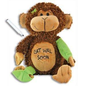 GET WELL SOON Signature MONKEY with Pen ~ Adorable 15'' PLUSH~ Squeezable Huggable Cuddly~ Broken Leg Arm Cheer ~ Illness Hurt Sickness Hospital Animal ~