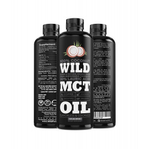 Wild MCT Oil 100% Coconuts Flavorless C8/C10/C12 Blend Non-GMO Liquid Brain Fuel Great For Smoothies, Coffee, Keto, Protein Shakes - 16oz BPA-Free Bottle