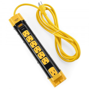 Bestten 7 Outlet Heavy Duty Metal Surge Protector Power Strip with Cord Management, 9-Foot Cord, ETL Certified, Yellow