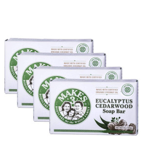 Makes 3 Organic Eucalyptus Cedarwood Soap Pack - Superfood for the Skin - 100% Handcrafted Organic Soap - Restores Positive Energy- Promotes Healthy Complexion (4 Organic Soap Bars)