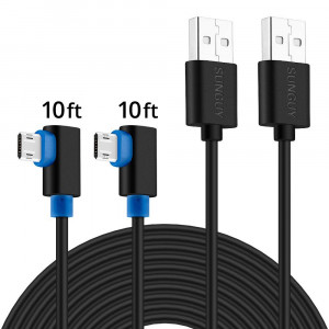 90 Degree Micro USB Cable,SUNGUY [2 Pack] 3M/10ft Right Angle Reversible Micro USB Cable for PS4 and PS4 Pro/Slim,Dual Shock 4 and Xbox One Controller and Other Android Devices - Black