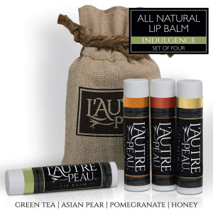 All Natural Luxury Lip Balm with Natural Beeswax by L'AUTRE PEAU - Dry Chapped Lips Treatment with Moisturizer | Indulgence Gift Set | Green Tea, Asian Pear, Pomegranate and Honey (4 Pack)