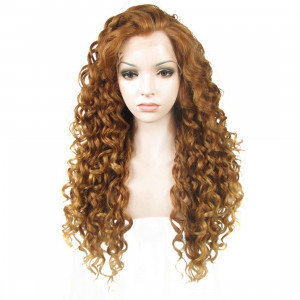 Ebingoo Curly Brown Lace Front Wig Synthetic Hair Wigs N18 30+27HR