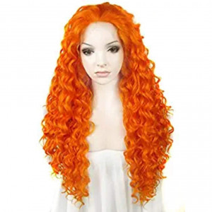 Ebingoo Long Curly Orange Synthetic Lace Front Wig For White Women N18 3200