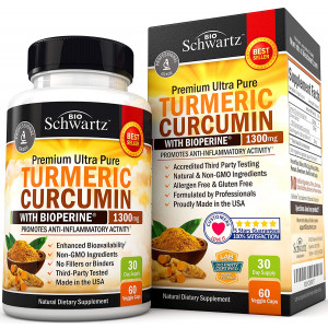 Turmeric Curcumin with Bioperine Anti-inflammatory, Antioxidant and Anti-Aging Turmeric Supplement. Joint Pain Relief with 95% Standardized Curcuminoids. Non-GMO Turmeric Capsules with Black Pepper