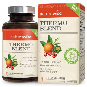 NatureWise Thermo Blend Metabolism Booster  Natural Thermogenic Fat Burner, Appetite Suppressant and Weight Loss Pills for Men and Women with Green Tea Extract and Bitter Orange, Vegan and Gluten Free, 60 ct