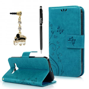 Core Prime Case,Galaxy Core Prime Case - Fashion Wallet Purse 3D Embossed Butterflies PU Leather Kickstand Flip Cover Shockproof TPU Inner Bumper Hand Strap Dust Plug Stylus Pen by Badalink - Blue