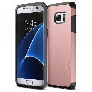 Trianium Galaxy S7 Edge Case [Protak Series] Dural Layer TPU Bumper + Hard Polycarbonate Back Plate Cover [Heavy Duty] + Shock Absorbing Protective Frame for Samsung Galaxy S7 Edge - Rose Gold