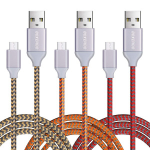 Micro USB Cable,3 Pack High Speed Nylon Braided Cable With Aluminum Heads by Boxeroo for Android Smartphones, Tablets, MP3 Players and More