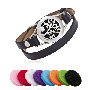 25Mm Aromatherapy/Essential Oil Diffuser Locket Bracelet Leather Band with 8 Color Pads