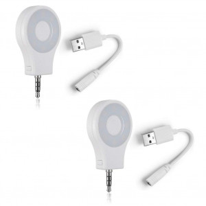 Neewer 2 Pcs Mini Ring 8 LED Smartphone Fill-light with USB Cable for iPhone 6S/6 Plus/6/5S,Samsung Galaxy S6 Edge/S6,Blackberry Bold Touch,Sony Xperia,Motorola Droid and Other Cellphones(White)