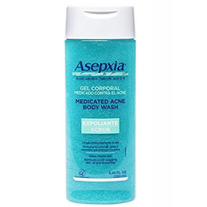 Asepxia Shower Gel Acne Blackhead Pimple Treatment and Exfoliating Scrub with 2% Salicylic Acid, 8.5 Fluid Ounce