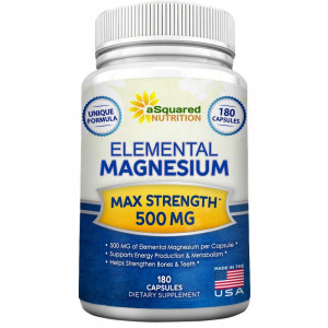 Elemental Magnesium Supplement - 180 Veggie Capsules - Max Strength Magnesium Citrate and Oxide 500 mg Formula, Mag Tablet Pills for Sleep and Vitamin Deficiency, Natural Calm Complex for Women and Men
