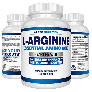 Premium L Arginine - 1340mg Nitric Oxide Booster with L-Citrulline and Essential Amino Acids for Heart and Muscle Gain   NO Boost Supplement for Endurance and Energy   60 Capsules