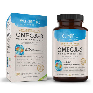 Omega-3 Wild Caught Fish Oil 2400 mg | Triple Strength EPA 860 mg + DHA 630 mg | 180 Softgels | Lemon Flavored, Burpless, Enteric Coated | For Heart Health, Joint Health, Mood Support, Weight Loss