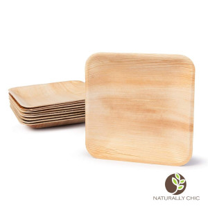Naturally Chic 6 Square Disposable Palm Leaf Plates - 25 Pack - Small Dinnerware Set - Eco-Friendly, Biodegradable and Compostable - Ideal for Weddings, Parties, Home Use, Events