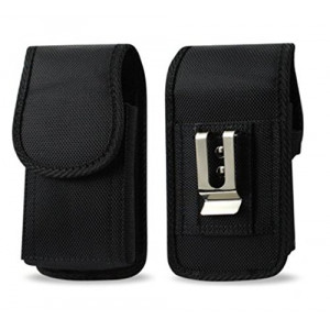 "for Jitterbug Flip 4.3"" x 2.2"", Heavy Duty Rugged Canvas Vertical AGOZ Carrying Case Holster with Strong Metal Clip and Belt Loops"