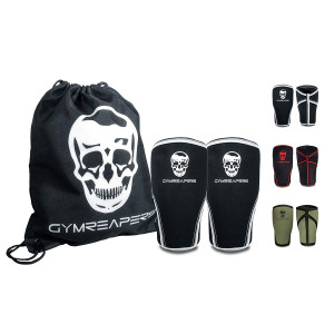 Gymreapers Knee Sleeves (1 Pair) Free Gym Bag - Knee Sleeve and Compression Brace Squats, Weightlifting, Cross Training Powerlifting 7MM Sleeve Pair Men and Women - 1 Year Warranty
