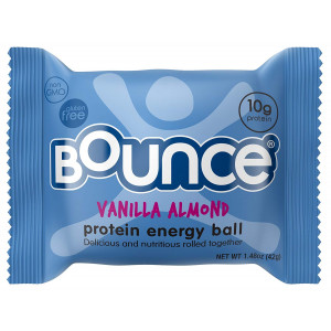 Bounce Vanilla Almond Protein Energy Ball  Whey Protein, Gluten Free, Non-GMO, Vegetarian, On The Go Snack  1.48 Ounce, 12 count