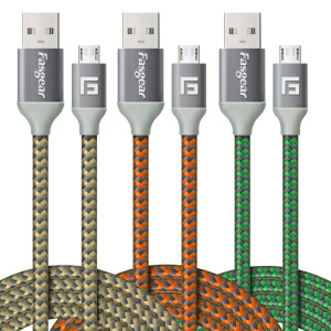 Micro USB Cable, 3 pcs (6ft/2M) Fasgear Nylon Braided Tangle Free Fast Charging Data Cord with Metal Connector Compatible with Android, Samsung Galaxy S6/S6 Edge, HTC and More (Gold,Green,Orange)