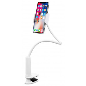Aduro Solid-Grip Phone Holder for Desk - Adjustable Universal Gooseneck Smartphone Stand, with Durable Rubberized Mount (White)