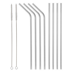 Aoocan Set of 8 Stainless Steel Straws FDA-Approved Extra Long 10.5'' Reusable Drinking Metal Straws For 20 30 oz Tumblers Fits all Yeti Ozark Trail RTIC Tumbler(4 Straight + 4 Bent + 2 Brushes)