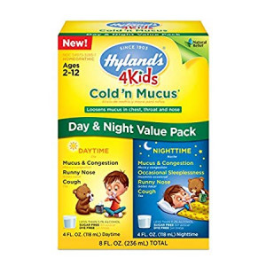 Hyland's 4 Kids Cold and Mucus Day and Night Value Pack, Natural Common Cold Symptom Relief, 8 Ounce