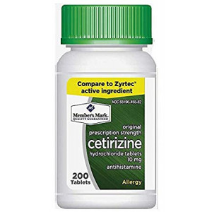 Member's Mark 10mg Cetirizine Hydrochloride Antihistamine 200 Tablets