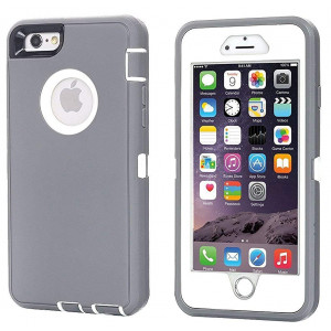 iPhone 6 Case, iPhone 6S Case [Heavy Duty] AICase Built-in Screen Protector Tough 3 in 1 Rugged Shorkproof Cover for Apple iPhone 6/6S (Grey/White)