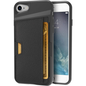 Silk iPhone 7/8 Wallet Case - Q Card CASE [Slim Protective Kickstand CM4 Grip Cover] - Wallet Slayer Vol. 2 - Black Onyx