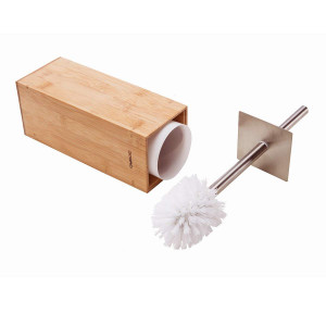 Gobam Toilet Brush and Holder Stainless Steel Handle and Lid for All Toilet Types with Sanitary Storage,Square Bamboo