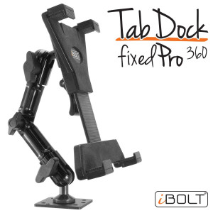 "iBOLT TabDock FixedPro 360 -Heavy Duty Metal 8 Multi-Angle Drill Base Mount All 7"" - 10"" Tablets (iPad, Nexus, Samsung Tab) Desks, Tables, Countertops : Great Homes, Businesses, etc."