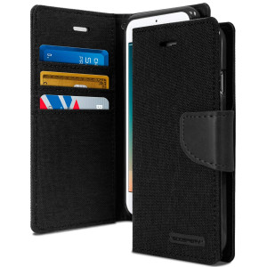 GOOSPERY iPhone 8 Case and iPhone 7 Case, [Drop Protection] Canvas Diary [Denim Material] Wallet Case [ID Card Cash Slot] Stand Flip Cover TPU Casing for Apple iPhone 8 and 7 (Black) IP7-CAN-BLK
