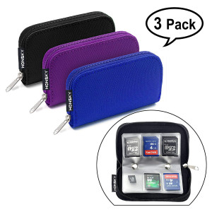Honsky Memory Card Holder, 3 Set 22 Slot SD CF SDHC SDXC MMC Micro SD SecureDigital Memory CompactFlash Cards Carrying Cases and Sleeves Bags Media Storage and Organization - Black, Purple, Blue