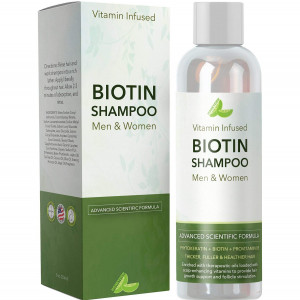 Natural Biotin Shampoo For Hair Growth and Strengthener - Hair Loss Treatment for Thinning Hair With Vitamin B5 Zinc - Premium Argan Oil for Men and Women - All Hair Types - Safe for Color Treated Hair