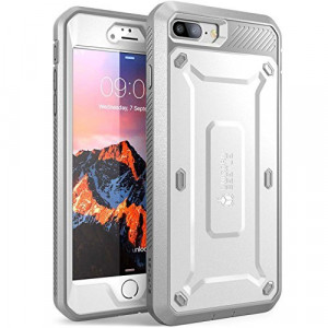 SUPCASE iPhone 7 Plus Case, iPhone 8 Plus Case, Unicorn Beetle PRO Series Full-body Rugged Holster Case with Built-in Screen Protector for Apple iPhone 7 Plus / iPhone 8 Plus (White/Gray)