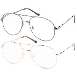 Set of Metal Aviator Glasses For Reading