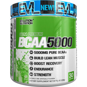 Evlution Nutrition BCAA5000 Powder 5 Grams of Premium BCAAs 30 Serving (Lemon Lime)
