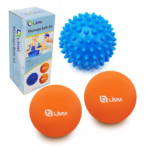 Limm Therapy Massage Ball Set - Lacrosse and Spiky Combo - 2 2.5 inches and 1 2.8 inches - Best Feet, Back and Neck - Rubber Balls for Pain Relief and Plantar Fasciitis - Includes Free Carry Bag
