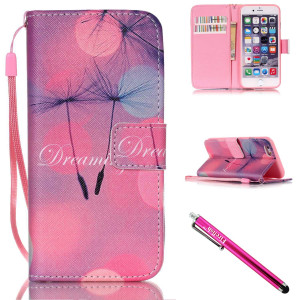 iPhone 5S Case, iPhone 5 Wallet Case, Firefish [Kickstand] PU Leather Flip Purse Case Slim Bumper Cover with Lanyard Magnetic Skin for Apple iPhone 5/5S/SE + including One Stylus-B-Dandelion