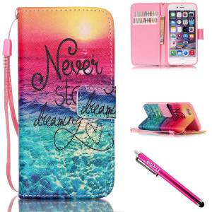 iPhone 5S Case, iPhone 5 Wallet Case, Firefish [Kickstand] PU Leather Flip Purse Case Slim Bumper Cover with Lanyard Magnetic Skin for Apple iPhone 5/5S/SE + including One Stylus-Sea
