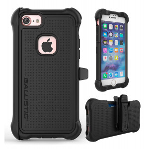 iPhone 7 Case, Ballistic [Tough Jacket Maxx Series] Heavy Duty Protection Black Case for Apple iPhone 7 Drop Test Certified 8ft Impact Drop Protection Rugged Rotating Holster Clip and Screen Protector
