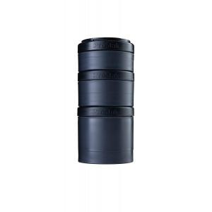 BlenderBottle ProStak Twist n' Lock Storage Jars Expansion 3-Pak with Pill Tray, All Black