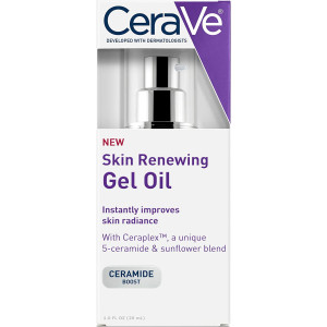 CeraVe Skin Renewing Gel Oil - Face Gel Oil/Face Moisturizer Booster for use Before Applying or Combined with Face Lotion, Night Cream, Wrinkle Cream or Anti Aging Face Cream, 1 oz