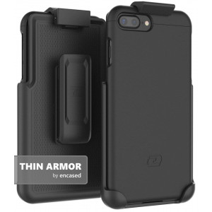 "iPhone 7 Plus (5.5"") Belt Case, Encased (Thin Armor) Hybrid Shell w/Secure-fit Holster Clip (Jet Black)"