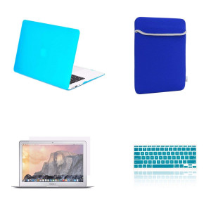 "TOP CASE 4 in 1 Bundle Deal - Rubberized Hard Case, Keyboard Cover, Screen Protector and Sleeve Bag Compatible with Apple MacBook Air 11"" A1370 and A1465 - Aqua Blue"