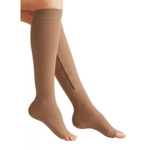 Zipper Medical Compression Socks With Open Toe - Best Support Zipper Stocking for Varicose Veins, Edema, Swollen or Sore Legs, (XL, Beige)